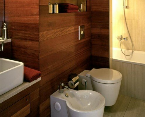 bathroom vanity and wooden panels