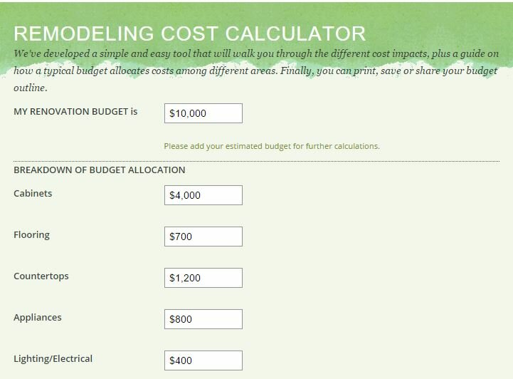 Kitchen remodeling cost calculator green builders grp llc for Custom home build calculator