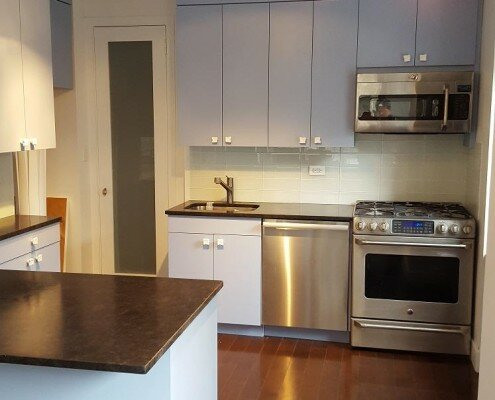 kitchen remodeling NYC - light blue kitchen cabinets
